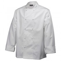 Genware Press Stud Long Sleeve Chefs Jacket White