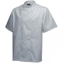 Genware Press Stud Short Sleeve Chefs Jacket White