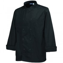 Genware Press Stud Long Sleeve Chefs Jacket Black