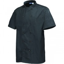 Genware Press Stud Short Sleeve Chefs Jacket Black