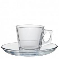 Vela Glass Espresso Cup & Saucer 2.7oz(7cl)