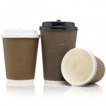 8oz Double Ribbed LV Cups - Paper Board PE Lined 500 Pack