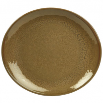 Terra Stoneware Oval Plates Rustic Brown 21 x 19cm