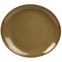 Terra Stoneware Oval Plate Rustic Brown 29.5 x 26cm