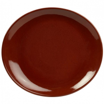 Terra Stoneware Oval Plate Red 25 x 22cm