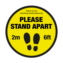 Please Stand Apart Social Distancing Floor Graphic 400mm