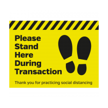 Please Stand Here During Transaction Floor Vinyl Graphic 300 x 400mm