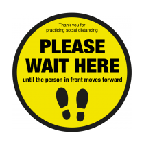 Please Wait Here Until Person In Front Moves Forward Floor Graphic 400mm