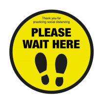Please Wait Here With Symbol Social Distancing Floor Graphic 400mm