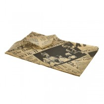 Brown Newspaper Print Greaseproof Paper 25 x 35cm