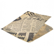Greaseproof Brown Newspaper Print Paper Bags 17.5 x 17.5cm
