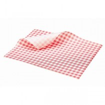 Greaseproof Paper Sheets Red Gingham Print 25 x 20cm