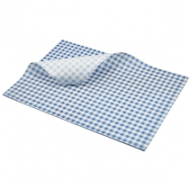 Blue Greaseproof Paper Blue Gingham Print 35 x 25cm