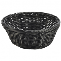 Round Polywicker Basket Black 21 x 8cm
