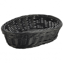 Oval Polywicker Basket Black 22.5 x 15.5 x 6.5cm