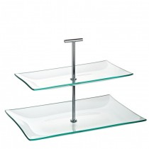 Aura 2 Tiered Rectangular Glass Plate Stand