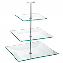 Aura 3 Tiered Square Glass Plate Stand