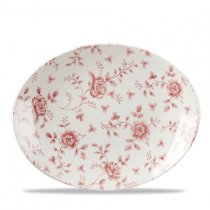 Churchill Vintage Print Cranberry Rose Chintz Oval Plate 31.7 x 25.3cm