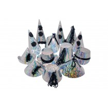 Black & Silver Holographic Party Hats