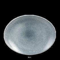 Churchill Studio Prints Raku Oval Coupe Plate Topaz Blue 31.7 x 25.5cm