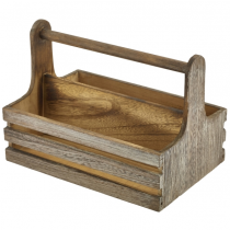 Rustic Wooden Table Caddy 20 x 15.3 x 18cm
