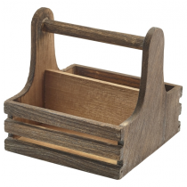 Rustic Wooden Table Caddy 15 x 15.3 x 15cm