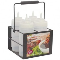 Black Powder-Coated 4-Compartment Squeeze Bottle Caddy