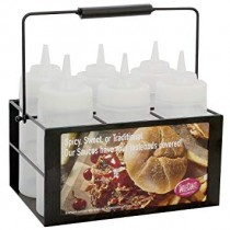 Black Powder-Coated 6-Compartment Squeeze Bottle Caddy