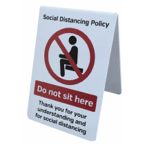 Do Not Sit Here Social Distancing Freestanding Tabletop Tent Sign