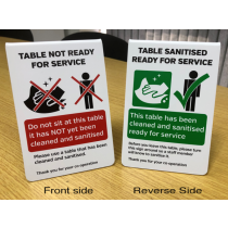 Table Has Been Sanitised For Use / Table Not Ready For Use Dual Freestanding Tabletop Tent Sign