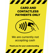 A4 Card & Contactless Payments Only Countertop Sign