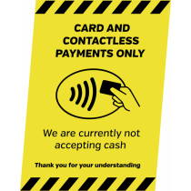 A5 Card & Contactless Payments Only Countertop Sign