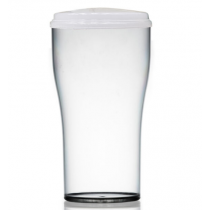 Econ Reusable Polystyrene 2 Pint Beer Take Out Glass with Lid CE 40oz / 1.13ltr