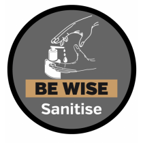 Be Wise Sanitise Floor & Wall Graphic Sign 400mm