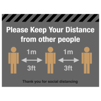 Please Keep Your Distance From Other People Floor Graphic 300 x 400mm