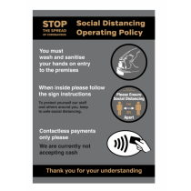 A3 Waterproof Social Distancing Operating Policy Poster
