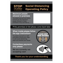 A3 Waterproof Social Dristancing Operation Policy Maximum People Allowed In At Any Time Poster