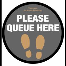Please Queue Here With Symbol Social Distancing Floor Graphic 400mm