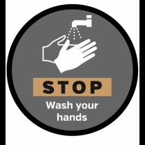 STOP Wash Your Hands Floor & Wall Vinyl Graphic 400mm