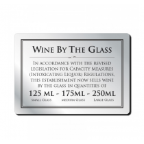 Wine by the glass Bar Sign 125, 175 & 250ml