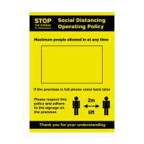 A4 Waterproof Social Distancing Operation Policy Maximum People Allowed In At Any Time Poster