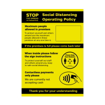 A4 Waterproof Social Distancing Operation Policy Maximum People Allowed / Contactless Payments Only Poster