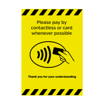 A5 Please Pay By Contactless Or Card Whenever Possible Vinyl Sticker