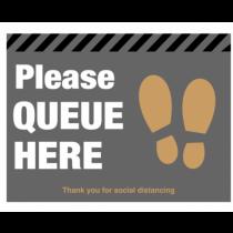 Please Queue Here Floor Graphic 300 x 400mm