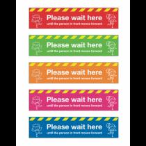 Please Wait Here School Social Distancing Floor Graphics 600x100mm