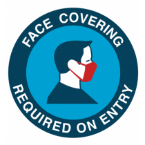 Face Covering Required On Entry Vinyl Sticker 125mm
