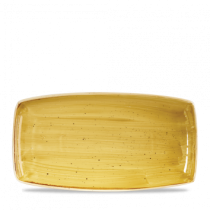 Churchill Stonecast Mustard Seed Yellow Oblong Plates 35 x 18.5cm