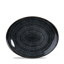 Churchill Studio Prints Homespun Oval Coupe Plate Charcoal Black 27 x 22.9cm