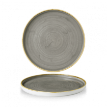 Churchill Stonecast Peppercorn Grey walled Chefs' Plate 26cm
