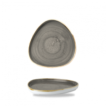 Churchill Stonecast Peppercorn Grey Chefs' Triangle Walled Plate 20cm